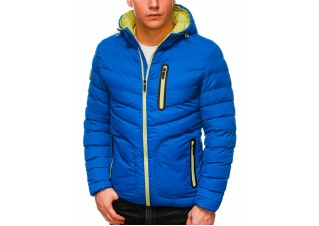 Men's mid-season quilted jacket C356 - blue