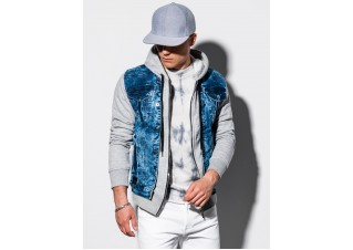 Men's mid-season jeans jacket C322 - denim/grey