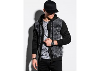 Men's mid-season jeans jacket C322 - black