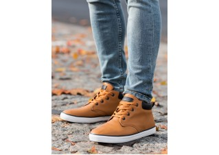 Men's high-top trainers T307 - camel