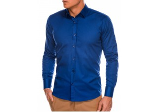 Men's slim shirt with long sleeves K504 - navy