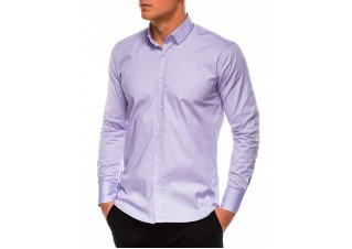 Men's slim shirt with long sleeves K504 - lilac