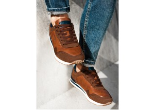 Men's casual sneakers T332 - brown