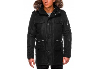 Men's winter parka jacket C410 - black