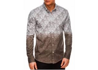 Men's shirt with long sleeves K513 - brown
