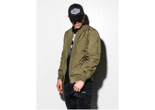 Men's mid-season bomber jacket C439 - green