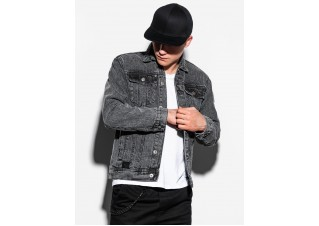 Men's mid-season jeans jacket C441 - black