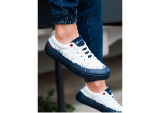 Men's high-top trainers T345 - white/navy