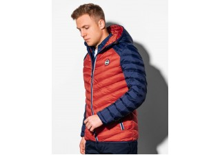 Men's mid-season quilted jacket C366 - orange