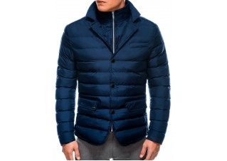 Men's winter quilted jacket C445 - navy