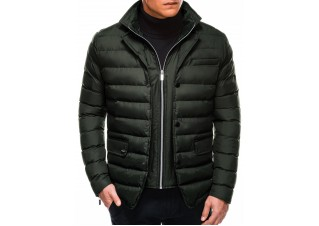 Men's winter quilted jacket C445 - khaki
