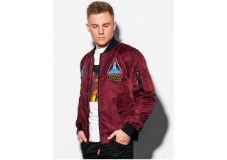 Men's mid-season bomber jacket C351 - dark red