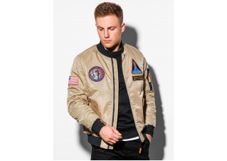 Men's mid-season bomber jacket C351 - beige