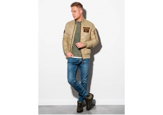 Men's mid-season bomber jacket C357 - beige