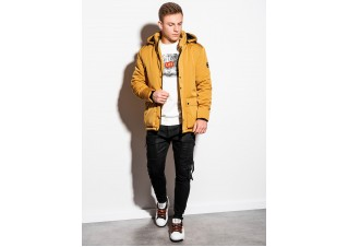 Men's winter jacket C449 - mustard
