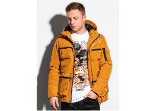 Men's winter quilted jacket C450 - mustard