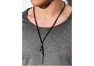Men's necklace on the leather strap A355
