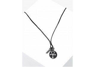 Men's necklace on the leather strap A359
