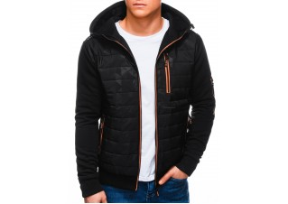 Men's mid-season jacket B1239 - black/orange