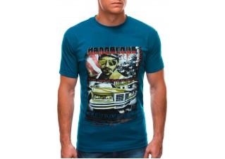 Men's printed t-shirt S1494 - turquoise