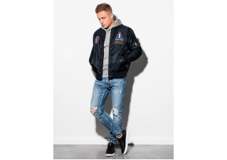 Men's mid-season bomber jacket C351 - black